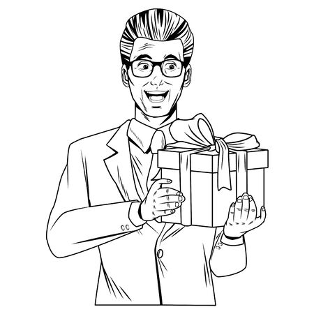man avatar with gift box with glasses wearing suit profile picture cartoon character portrait in black and white illustration graphic design