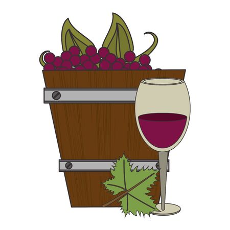 wooden bucket with bunch of grapes and wineglass over white background, vector illustration Archivio Fotografico - 132075025