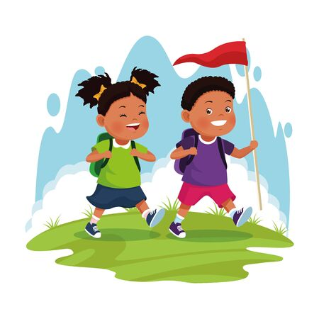 afroamerican children on school field trip couple walking with flag outdoor avatar cartoon character