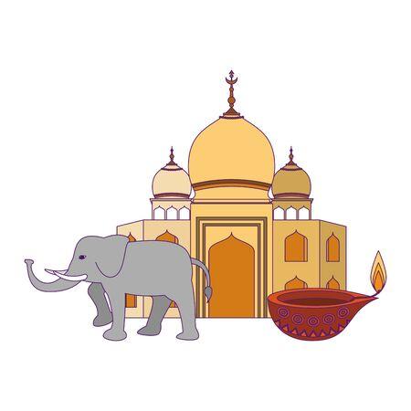 indian building monuments with taj mahal, gray elephant and lamp icon cartoon vector illustration graphic design Illusztráció