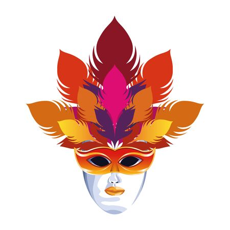 Masquerade mask with feathers over white background, colorful design Stockfoto - 132094918