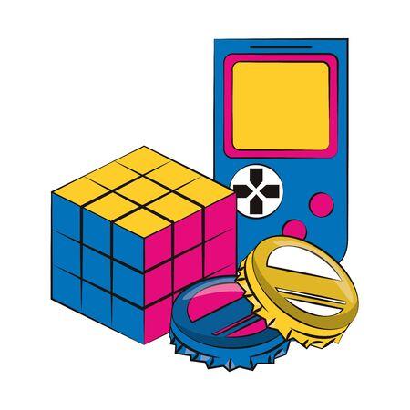 pop art design of soda caps with retro portable videogame and scramble cube icon over white background, vector illustration Çizim
