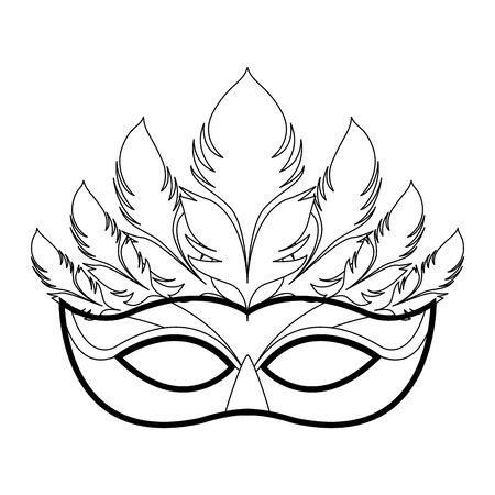 Masquerade mask with feathers icon over white background