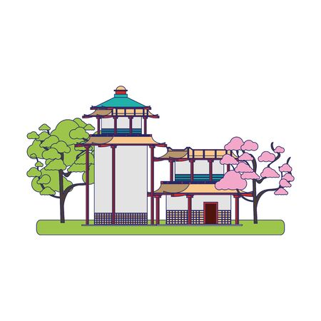 Japanese house with blossom trees over white background