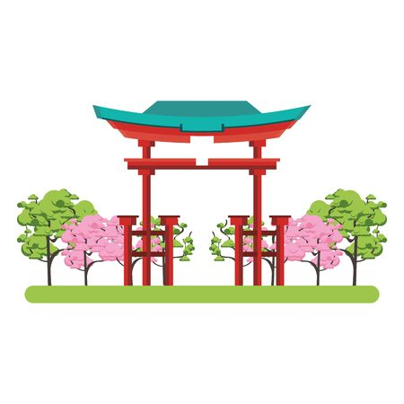 Tori gate icon over white background