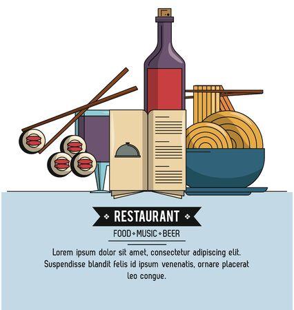 Restaurant infographic food music beer vector illustration graphic design