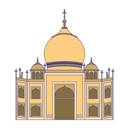 Taj mahal indian building symbol isolated vector illustration graphic design Illusztráció