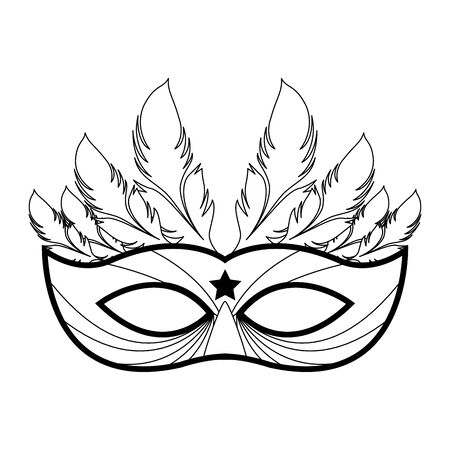 Icon of masquerade mask with feathers over white background, black and white design Stockfoto - 132094556