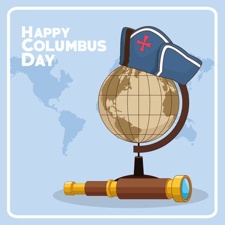 vintage erth globe with capitain hat and spyglass over blue background. Happy Columbus day colorful design, vector illustration