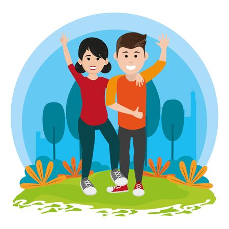 friends youth couple love people, couple falling love in urban park cartoon vector illustration graphic design