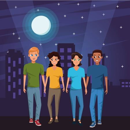 Young friends couple smiling with casual clothes cartoons in the city at night vector illustration graphic design