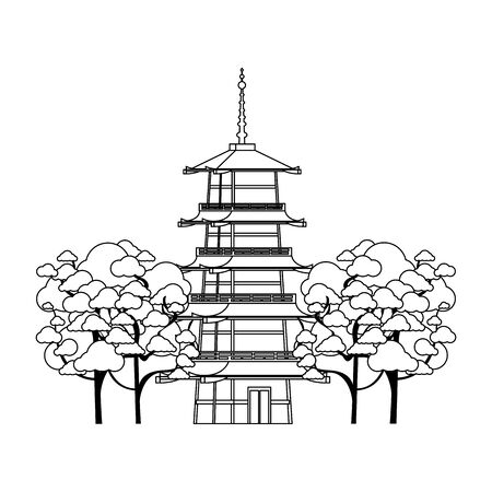 blossom trees around a pagoda temple icon over white background, vector illustration 写真素材 - 132126198