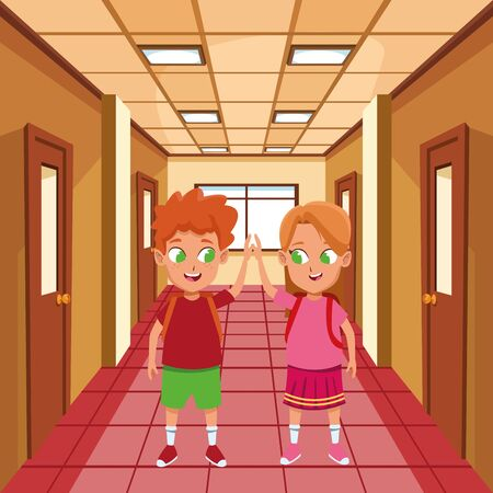 adorable cute children, girl with a boy school students wearing backpack happy childhood cartoon inside school hall scenery ,vector illustration graphic design. Foto de archivo - 132098698