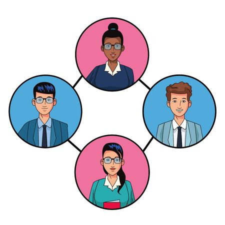 group of four business people afromerican with bun and glasses, man and woman with glasses and man smiling avatar cartoon character profile picture in round icon vector illustration graphic design