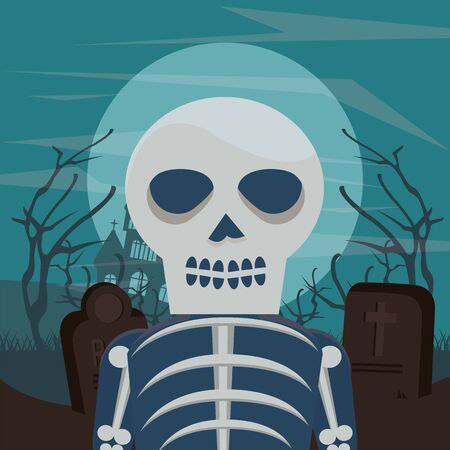 halloween dark scene with man disguised of skeleton vector illustration design