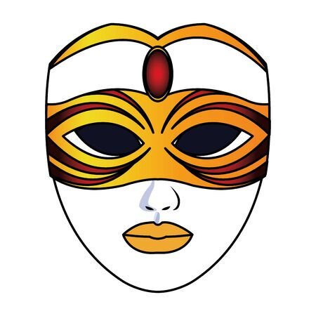 Mardi gras face mask icon over white background, colorful design. vector illustration