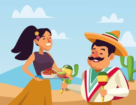 mexican traditional culture mariachis man with moustache, mexican hat and maracas and woman with flowers in her hair holding a tray with bowl of beans, guacamole and chili pepper avatar cartoon character in desert lanscape and cloudy sky with cactus vector illustration graphic design Illustration