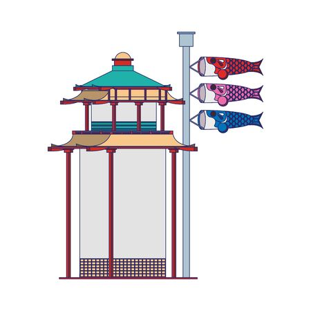 asian temple and Japanese koinobori flag sign over white background, vector illustration Ilustração