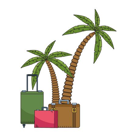 beach palms and travel suitcases icon over white background, colorful design. vector illustration 向量圖像