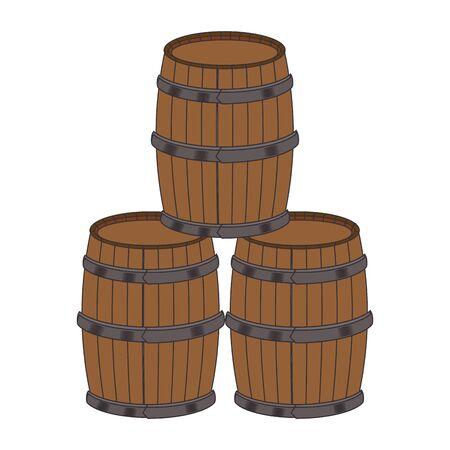 stack of wooden barrels over white background, vector illustration