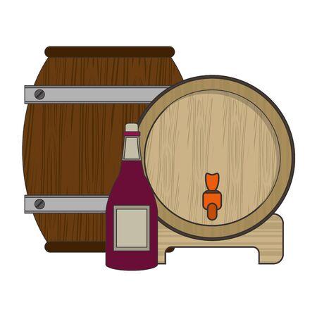 wine wooden barrel with wine bottle over white background, colorful design. vector illustration Standard-Bild - 132109794