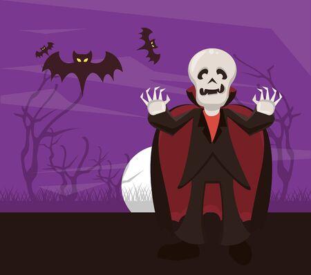 halloween dark scene with person and costume dracula vector illustration design Иллюстрация