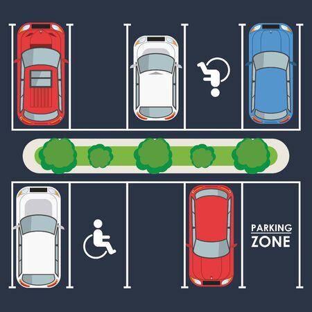 Autos und Fahrzeuge, die auf einem Parkplatz mit Verkehrszeichen geparkt sind, Parkzone Draufsicht. Vektorillustrationsgrafikdesign