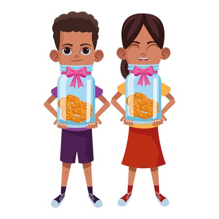 two young little kids afroamerican boy and girl holding a glass jar with coins avatar carton character vector illustration graphic design