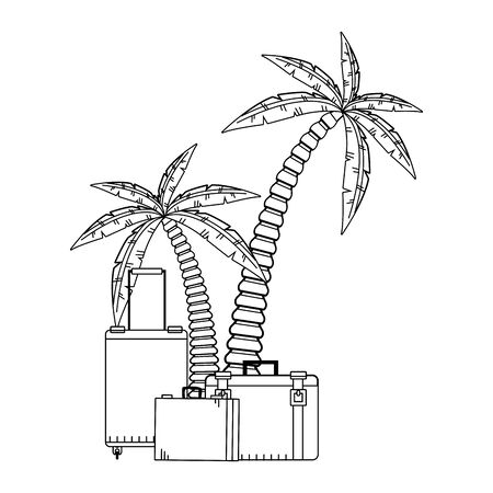 beach palms and travel suitcases icon over white background, vector illustration 向量圖像