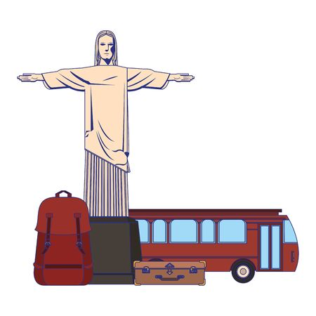 Travel vacations christ redemeer backpack bus and luggage cartoons
