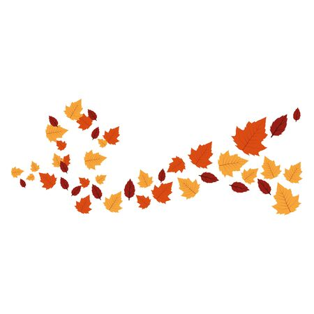 autumn leafs plant seasonal frame vector illustration design