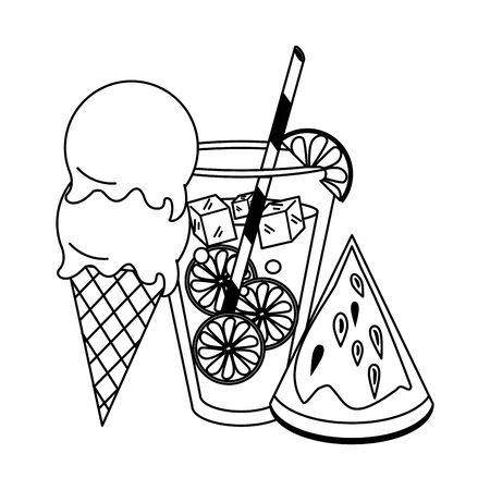 Summer ice cream juice and watermelon fruit cartoon vector illustration graphic design