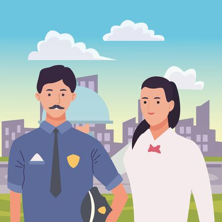 Professionals workers police officer and waiter with dish smiling cartoons in the city urban scenery ,vector illustration graphic design.