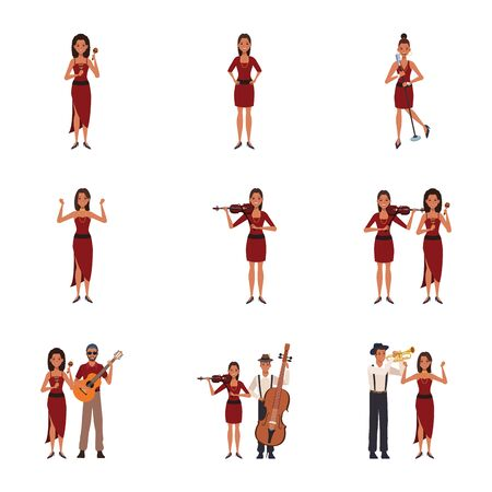 set of cartoon musicians women and men with instruments over white background, colorful design. vector illustration