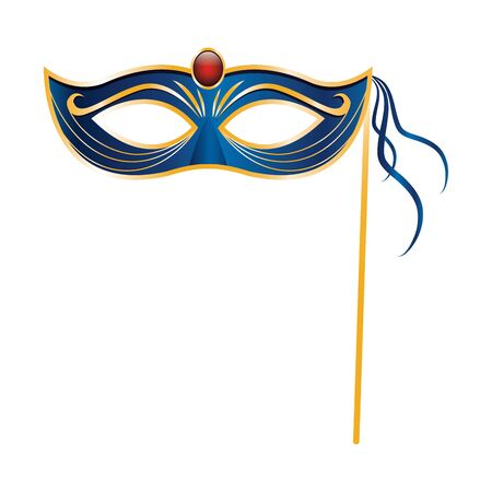 colorful Design of mardi grass mask on stick icon over white background, vector illustration 일러스트