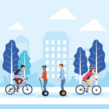 sport outdoor sportive bicycle ride activity, people riding with differents sport wheels vehicles at city park cartoon vector illustration graphic design Illusztráció