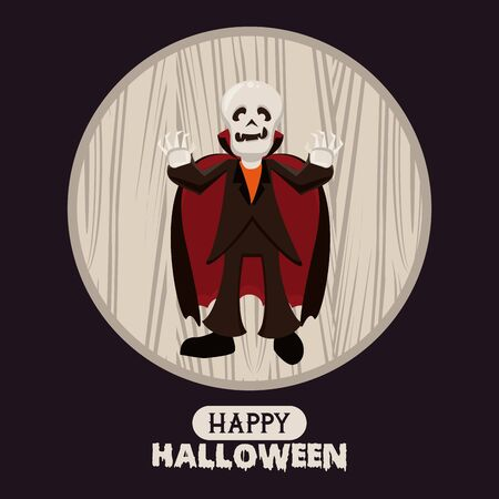 Happy halloween season card with skull vampire cartoons ,vector illustration graphic design.