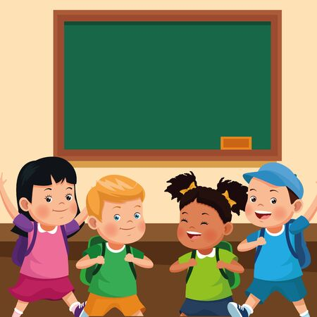 School kids with backpacks in the classroom with blackboard cartoons, back to school concept. vector illustration graphic design