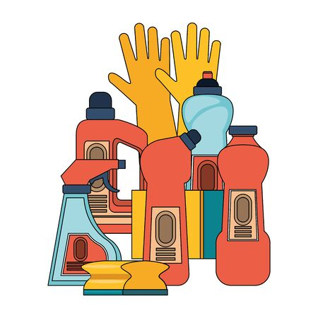 Cleaning equipment and products set of soaps and disifectnats with gloves and sponges vector illustration graphic design.