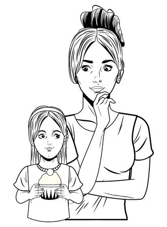 young woman with hand on the chin and little girl holding a muffin profile picture cartoon character portrait in black and white vector illustration graphic design Çizim