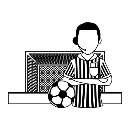 Soccer referee with ball and goal sport cartoons vector illustration graphic design 일러스트