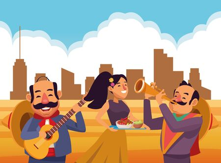mexican traditional culture mariachis man with moustache, mexican hat and guitar, man with moustache, mexican hat and trumpet and woman with flowers in her hair holding a tray with bowl of beans, guacamole and chili pepper avatar cartoon character in desert lanscape and cloudy sky and building silhouette vector illustration graphic design Çizim