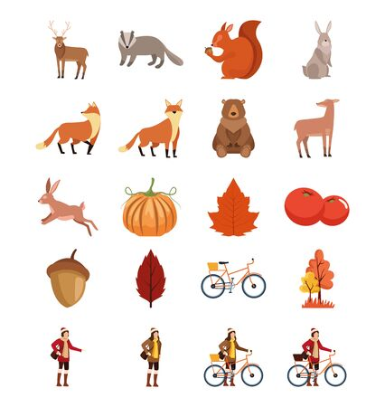 bundle of autumn season icons vector illustration design Imagens - 132126217