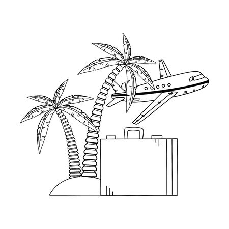 airplane flying with suitcase and beach palms icon over white background, vector illustration Banque d'images - 132125957