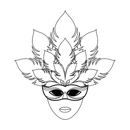 Icon of masquerade mask with feathers over white background, black and white design. vector illustration