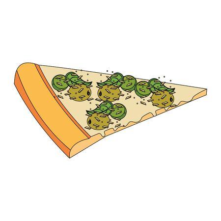 italian pizza slice over white background, vector illustration 일러스트