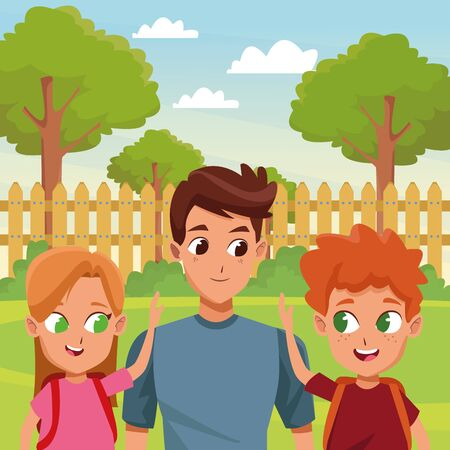 Family single father with kids holding school backpack in house garden scenery ,vector illustration.