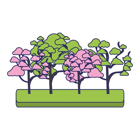 cherry blossom tree and trees icon over white background, colorful design. vector illustration