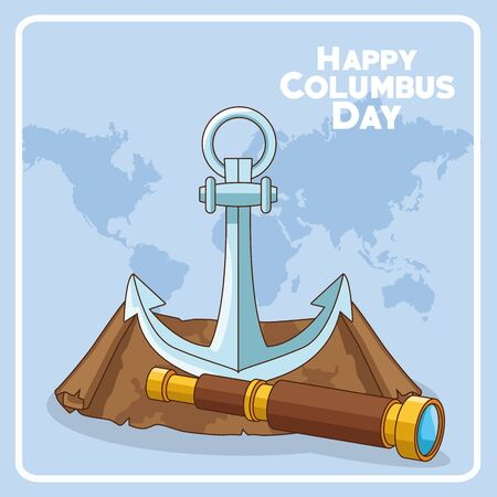 anchor and spyglass over blue background. Happy Columbus day colorful design, vector illustration