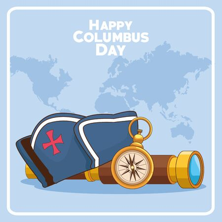 compass with spyglass and capitain hat over blue world map background. Happy Columbus day colorful design, vector illustration Vettoriali